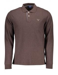 Gant polo para hombre manga larga contrastes - marrón