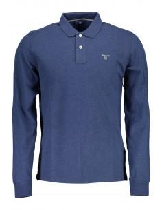 Gant polo para hombre manga larga contrastes - azul marino