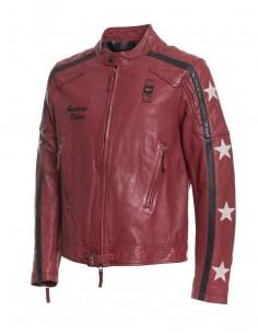 Blauer chaqueta de piel para hombre en rojo