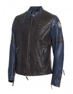 Blauer chaqueta de piel para hombre racing - black blue