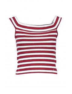 camiseta-guess-para-mujera-rayas-rojo