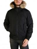 Refrigue parka corta para hombre invernal con capucha - negra