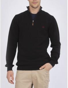 Jersey Sir Raymond half zip texturizado - negro