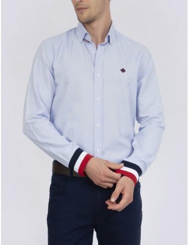 Sir Raymond Tailor camisa para hombre celeste con puños canalé