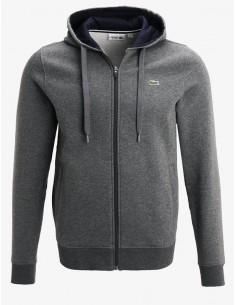 Lacoste chaqueta sport hombre con capucha y cremallera - dakr grey