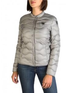 Blauer chaqueta acolchada para mujer - plata