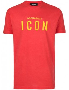 Camiseta para hombre roja con logo ICON en amarillo