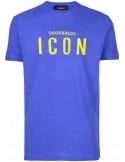 Camiseta para hombre azul con logo ICON en amarillo