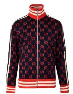 Chaqueta unisex logomanía jacquard Gucci - navy red