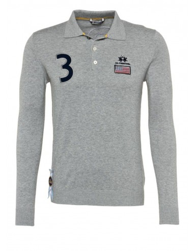 La Martina jersey polo USA flag - gris