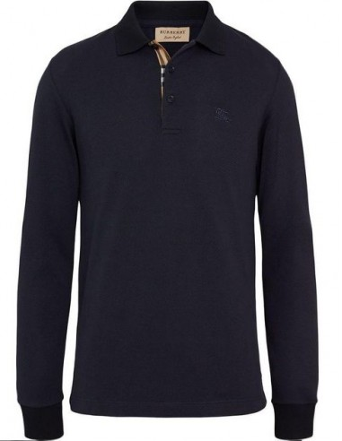 Polo Burberry manga larga - navy