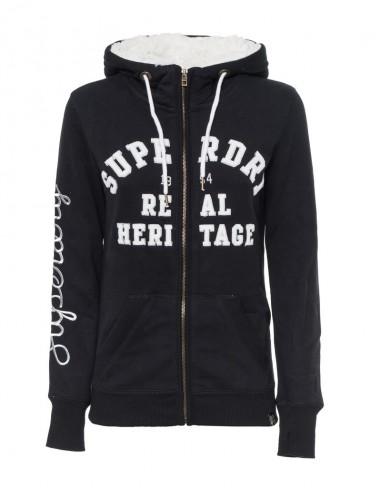 Superdry sudadera mujer con forro sherpa - black