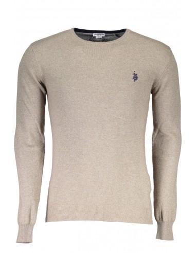 Jersey U.S. Polo Assn para hombre en lana y coderas - marrón claro