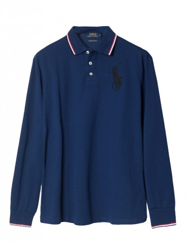 Polo manga larga big pony - ribeteado navy