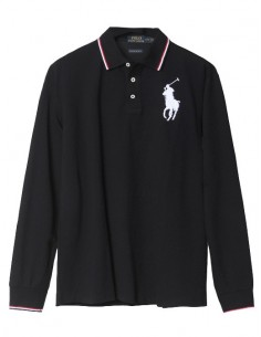 Polo manga larga big pony - ribeteado black
