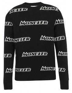 Moncler Jersey de cuello redondo con maxilogos - negro