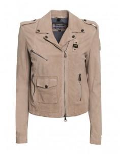 Blauer chaqueta mujer tipo motero - piel serraje marrón claro