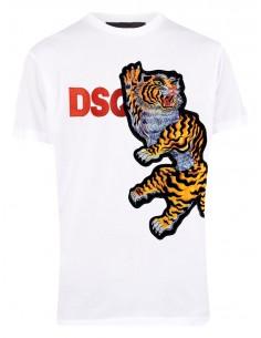 Camiseta para hombre Tiger dsq bordado - blanca