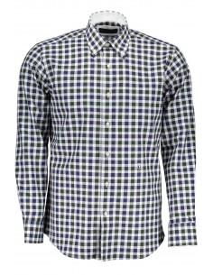 Camisa Trussardi para hombre de cuadros verdes y azules