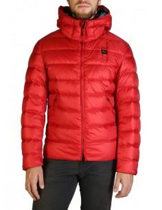 Blauer chaqueta acolchada para hombre con capucha - roja