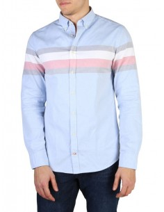 Camisa Tommy Hilfiger oxford color block - blue