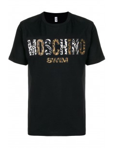 Camiseta Moschino hombre color negro con logo estampado animal
