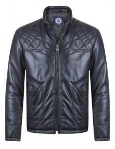 Sir Raymond Tailor chaqueta biker piel PACE - black navy