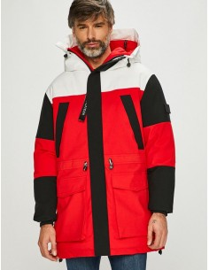 Tommy Hilfiger parka colorblock para hombre - black/red/white