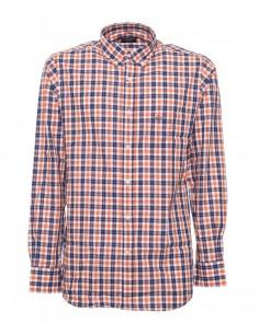 Camisa Paul Shark para hombre de cuadros - azul/naranja/blanco