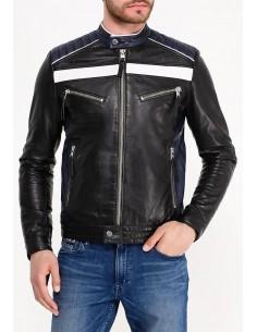 Calvin Klein chaqueta motera para hombre en piel - black