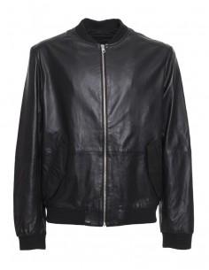 Calvin Klein chaqueta bomber para hombre - piel negra
