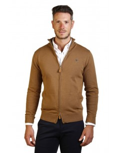 Cardigan polo Time of bocha doble cremallera - camel