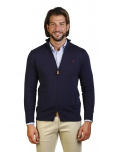 Cardigan polo Time of bocha doble cremallera - marino