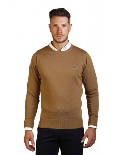 Jersey Time of bocha cuello redondo - camel