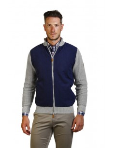 Cardigan polo Time of bocha combinado - gris/navy