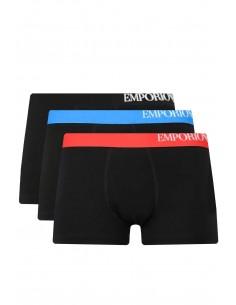 Armani pack 3 boxers negros con ribete rojo/azul/negro