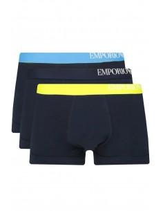 Armani pack 3 boxers negros con ribete azul/yellow/negro