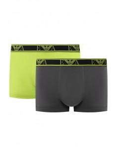 Armani pack 2 boxers negros con ribete - gris y neon